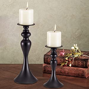 Black Candle Holders Set of 2,Pillar Candle Holder,Retro Iron Candlestick Holders,Mantle Fireplace Decoration Centerpieces Decorations Home DéCor Gifts for Bedroom Livingroom Wedding