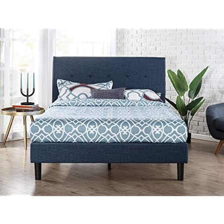 ZINUS Omkaram Upholstered Platform Bed Frame / Mattress Foundation / Wood Slat Support / No Box Spring Needed / Easy Assembly, Queen