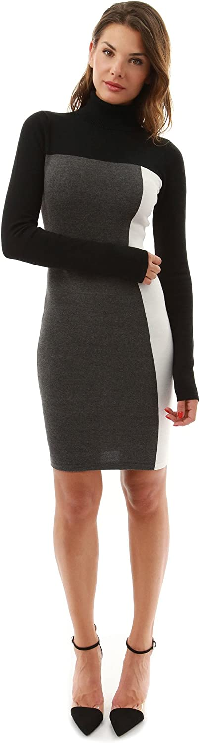 PattyBoutik Women's Turtleneck Pencil Sweater Dress