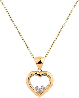 Natural and Certified Floating Diamond Pendant in 14K Solid Yellow Gold| 0.07 Carat J-K Color SI Clarity Diamond Pendant with Chain for Ladies/Women/Girls