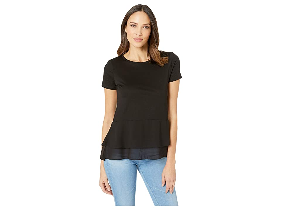 MICHAEL Michael Kors Solid Woven Double Hem Top (Black) Women's Clothing