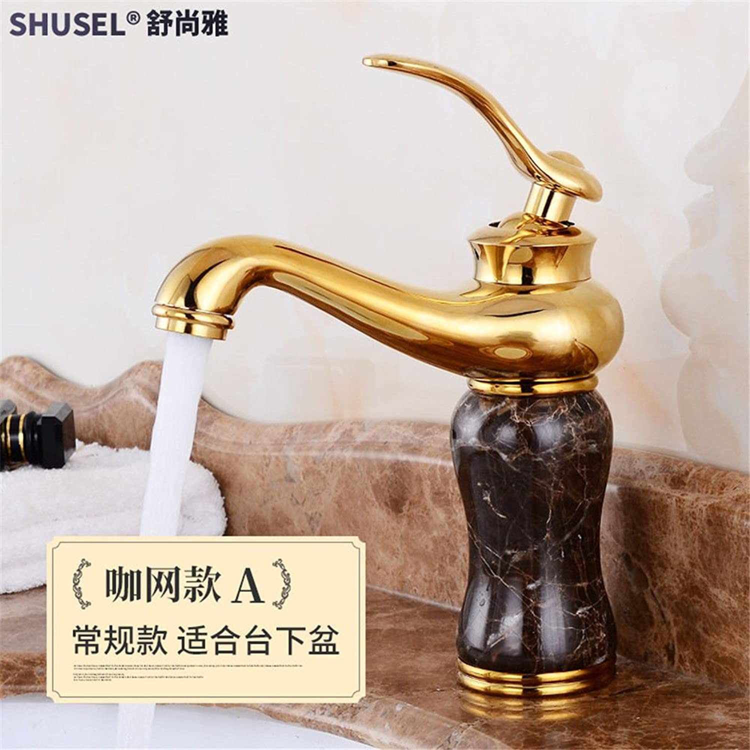 Lalaky Taps Faucet Kitchen Mixer Sink Waterfall Bathroom Mixer Basin Mixer Tap for Kitchen Bathroom and Washroom gold Copper Main Jade Antique Hot and Cold gold-Plated Marble