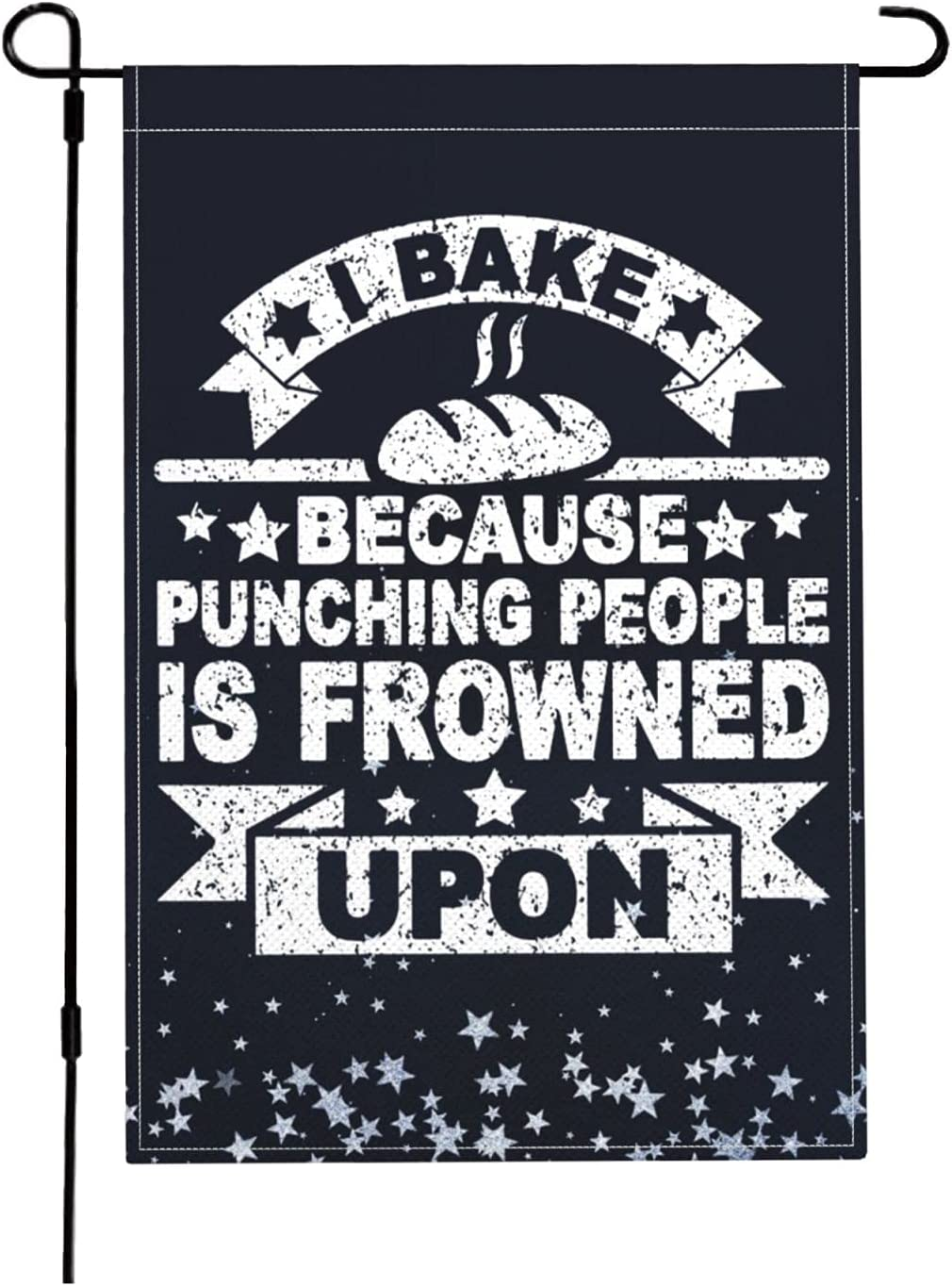 Leumius I Bake Because Punching People is Frowned Upon 1 Garden Flag 12x18 Inch Imitation Linen Decorative Yard Banner for Outside Party Home