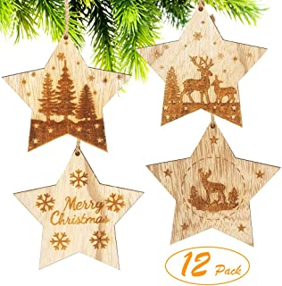 Partbus 12Pcs Star-Shaped Christmas Wood Cutouts, Unfinished Wooden Hanging Ornaments Embellishments for Xmas Decor, Christmas Tree Decorations with Drawstrings DIY Crafts