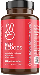 Red Deuces Hangover Cure & Prevention Pills Alcoholic Flush, Dihydromyricetin (DHM), Prickly Pear, N-Acetyl-Cysteine (NAC)...