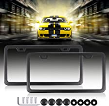 License Plates Frames Car Licenses Plate Covers Aluminum with Screw Caps 2 Pcs 2 Holes Polish Mirror Powder Coated Plate Cover Frame Shield Combo