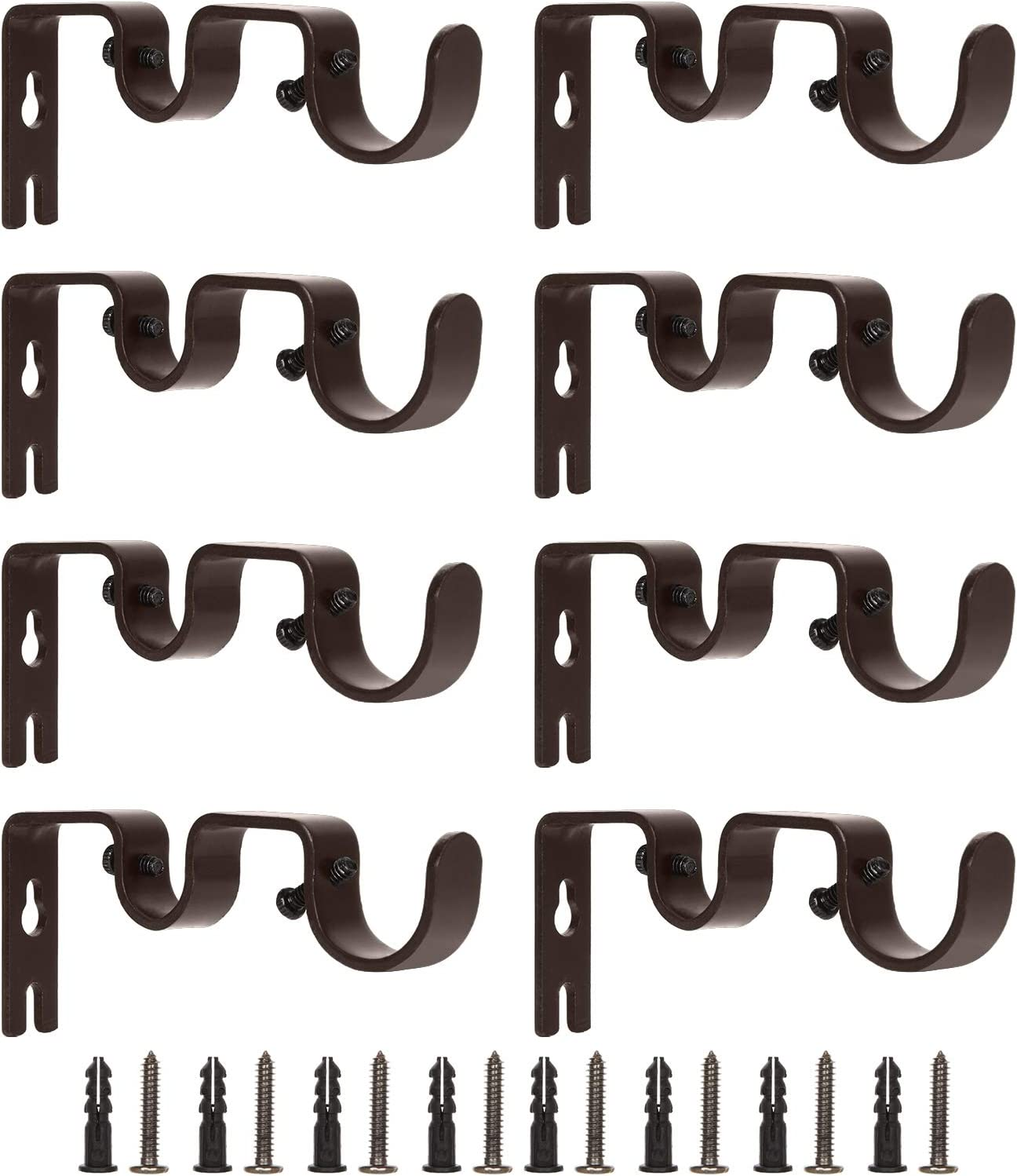 Wall Mount Curtain Rod Holders for Curtain Rods and Drapery Rod Bronze ZOEYES 8 Pack Heavy Duty Double Curtain Rod Brackets for 1 and 5//8 Inch Rod