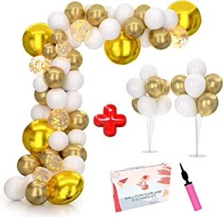 Balloon Arch Kit & Balloon Garland Kit 16Ft with Two Extra Balloon Stand and Pump | Video & eBook Instructions | 104 Gold White Confetti Balloons | Ideal for Baby Shower Decoration, Wedding, Birthday
