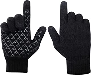 Winter Gloves for Women-Knit Touchscreen Gloves for Men-Warm Thermal Soft Lining Elastic Cuff Texting Gloves Anti-Slip Gloves for Men Women