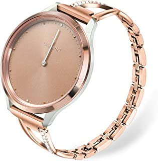 for Vivomove HR Women Watchband, TRUMiRR Crystal Diamond & Stainless Steel Watch Band Quick Release Strap Rose Gold Femini...