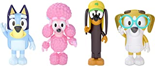 """Bluey and Friends 4 Pack of 2.5-3"""" Poseable Figures, Including Bluey, Snickers, Coco, & Honey"""