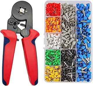 Ferrule Crimping Tool Kit Terminal Crimping Pliers Wire Stripper Tools Crimper Plier Set with 800PCS Wire Terminals Crimping Connectors Wire Ends Terminals AWG 23-10 (0.25-10mm²)