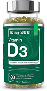 Vitamin D3 5000 IU Softgels with Organic Avocado Oil to Boost Absorption - Essential Elements | Strong Bone...