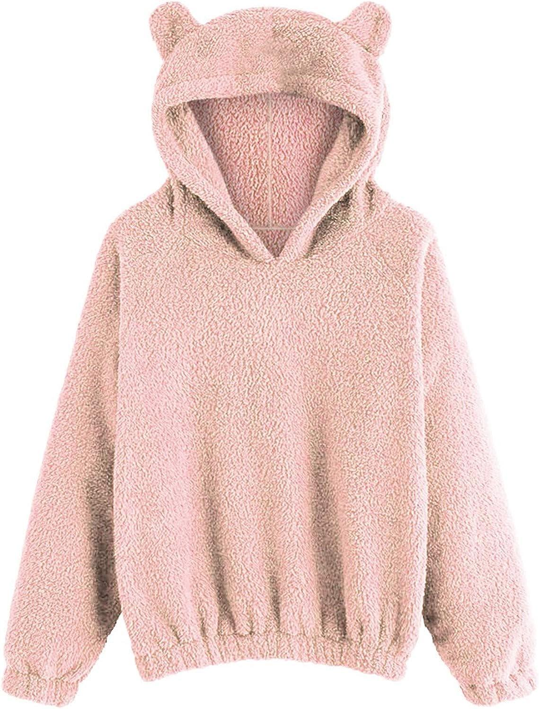 FUNEY Women's Faux Shearling Shaggy Sweatshirt Cute Bear Shape Fleece Fuzzy Long Sleeve Pullover Sweater Tops