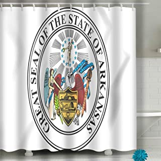 Jiuyiqiy3 Fabric Shower Curtain, Long Water-Repellent and Mold 60x72 INCH State Seal Arkansas USA d