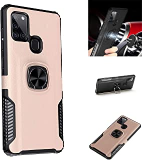 Beovtk Galaxy A21S Case,360° Rotating Ring Kickstand Protective Case,Silicone Soft TPU Shockproof Protection Thin Cover Co...