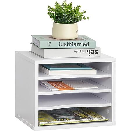 Organiseur bureau bois blanc avec 4 couches fournitures support d'imprimante dim. 35,5L x 25l x 28,6H cm