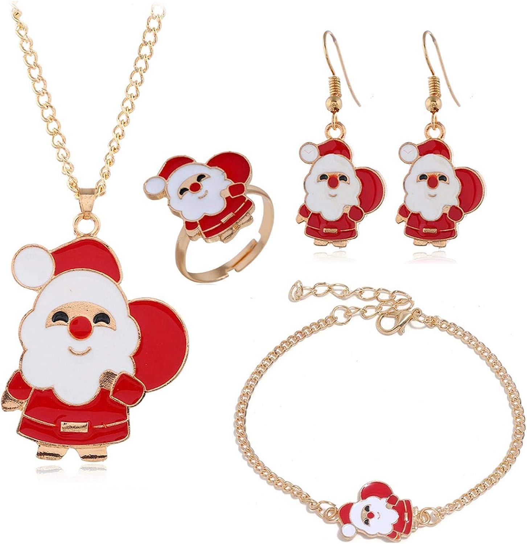 5 Pieces Christmas Jewelry Sets Santa Claus Christmas Tree Bells Elk Pendant Necklace Earrings Rings Bracelets Set Jingle Bell Dangle Earrings Xmas Tree Bracelet Gifts for X-Mas Holiday