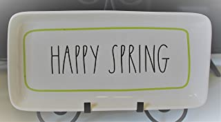 Rae Dunn HAPPY SPRING in Large Letters with Green Line Outline Easter 14 Inch Serving Dinner Dessert Appetizer Platter Tray. By Magenta.