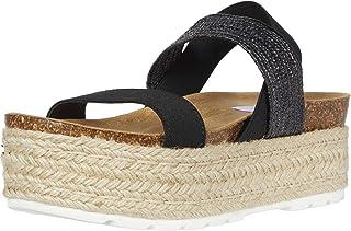 Steve Madden Women's Circa Wedge Sandal, Black Multi, 9