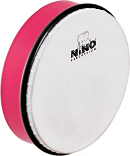 """Nino Percussion 8"""" Hand Drum with Wooden Beater, Strawberry Pink-NOT MADE IN CHINA-ABS Plastic and Synthetic Heads, for Cl..."""