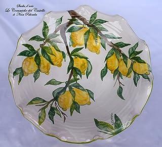 Centre de Table Ligne Citrons Céramique Peint à La Main Le Ceramiche del Castello Made in Italy Pièce unique Dimensions H ...