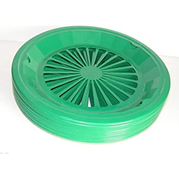 """Tropical Green 10-3/8"""" Plastic Paper Plate Holders Set of 4"""