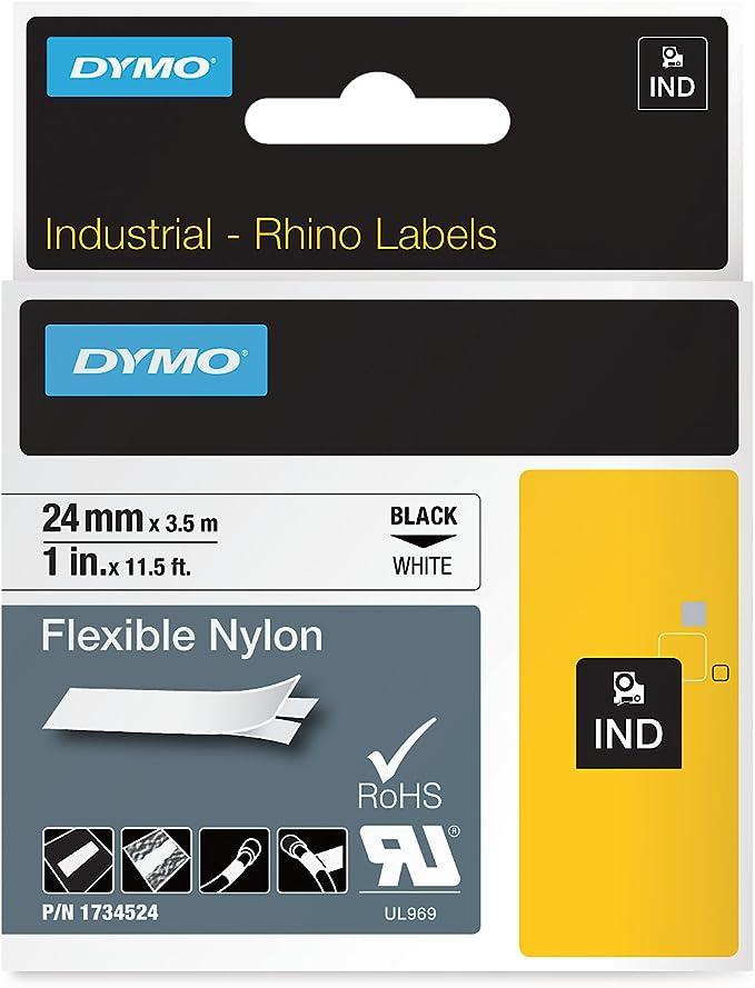 Dymo Rhino Industrial Labels Flexible Nylon 24 Mm X 3 5 M Black On Yellow Bürobedarf Schreibwaren