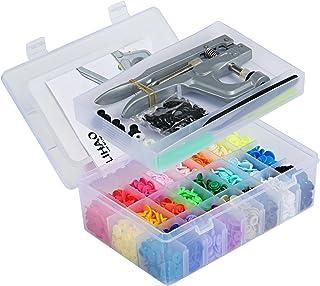 LIHAO プラスナップ スナップボタンと専用のハンティプレスセット プラスチック 12mm T5 24色 375組 ハンティプレT3 T5 T8対応 ケース付き 説明書付き クリスマスプレゼント