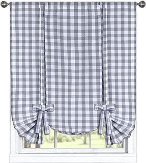 GoodGram Buffalo Check Plaid Gingham Custom Fit Farmhouse Window Curtain Tie Up Shades - Assorted Colors (Gray)