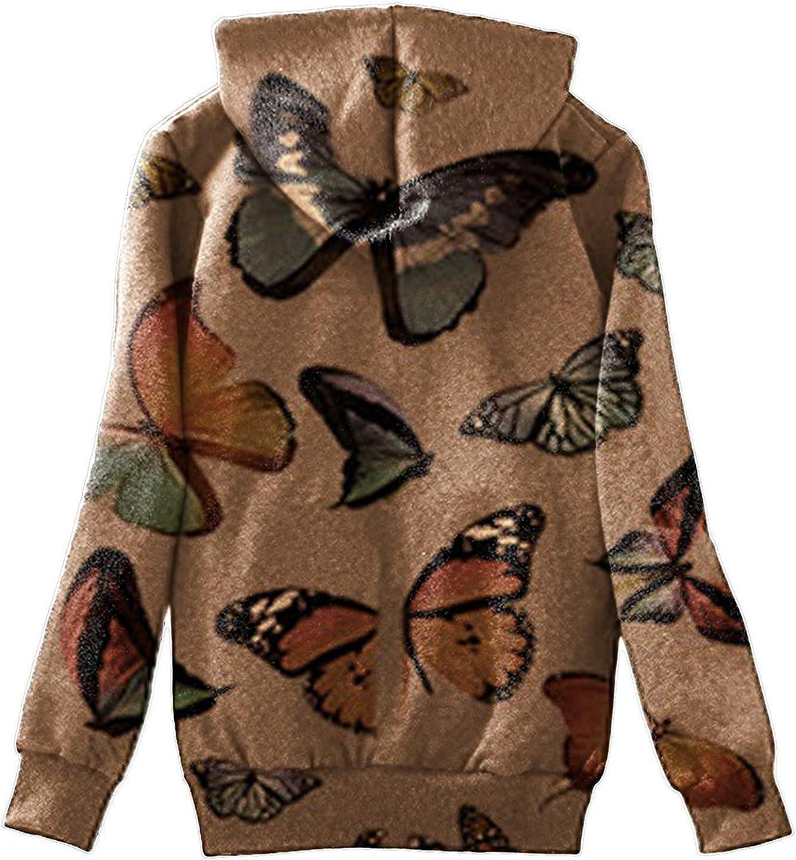 Women Fleece Coat Butterfly Print Zip Up Hooded Winter Warm Sherpa Lined Jacket Long Sleeve Plus Size Sweatshirt with Pocket