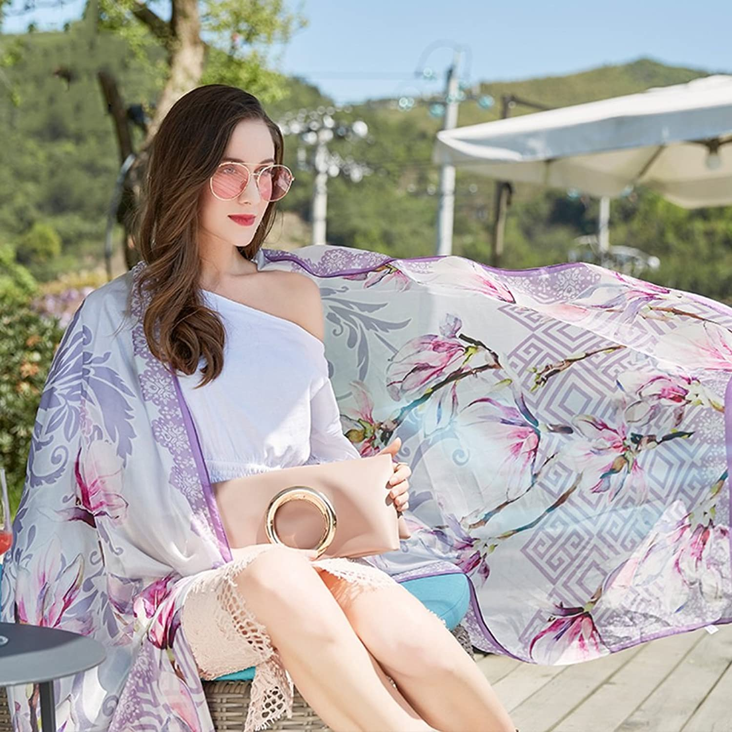 Ms. Sunscreen Shawl Tourism Super Large Silk Scarf Spring Scarf Holiday Silk Scarf 96.443.3 inches (color   Pink)