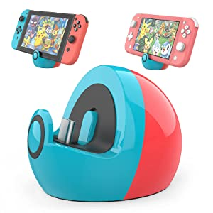 HEIYING Mini Charging Dock for Nintendo Switch and Switch Lite, Type C Port Switch Charging Stand Station,Switch Lite Dock with Classic Colors Neon Blue & Neon Red