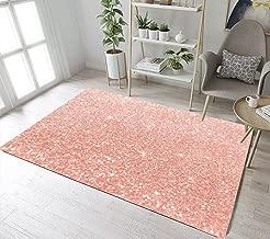 LB Rose Gold Area Rug with Glitter Stars Design,Non-Slip Girls Living Room Carpet Bedroom Bathroom Rugs Floor Mats Home Decor 1'8x2'7''