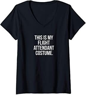 Womens This Is My Flight Attendant Costume Funny Halloween V-Neck T-Shirt
