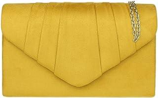 Girly HandBags Bolso de mano de ante sintético con diseño plisado para fiesta de noche para mujer