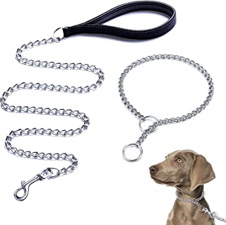 Dog Leash and Collar Set, Chew Proof Dog Chain Leash with Padded Handle, Dog Training Choke Slip Collar with Stainless Ste...