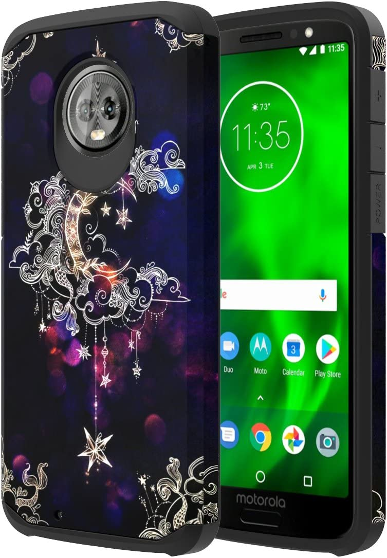 Moto G6 Case, Onyxii Hybrid Dual Layer Slim Graphic Armor Shockproof Impact Resistant Protective Cover Case for Moto G 6th Generation (Wiccan)