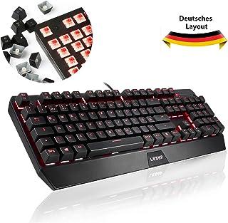 YKS Teclado mecánico para gaming QWERTZ alemán con antighosting 105 teclas con cable USB Red Switch y iluminación completa ajustable, teclas multimedia, 19 teclas no conflicto