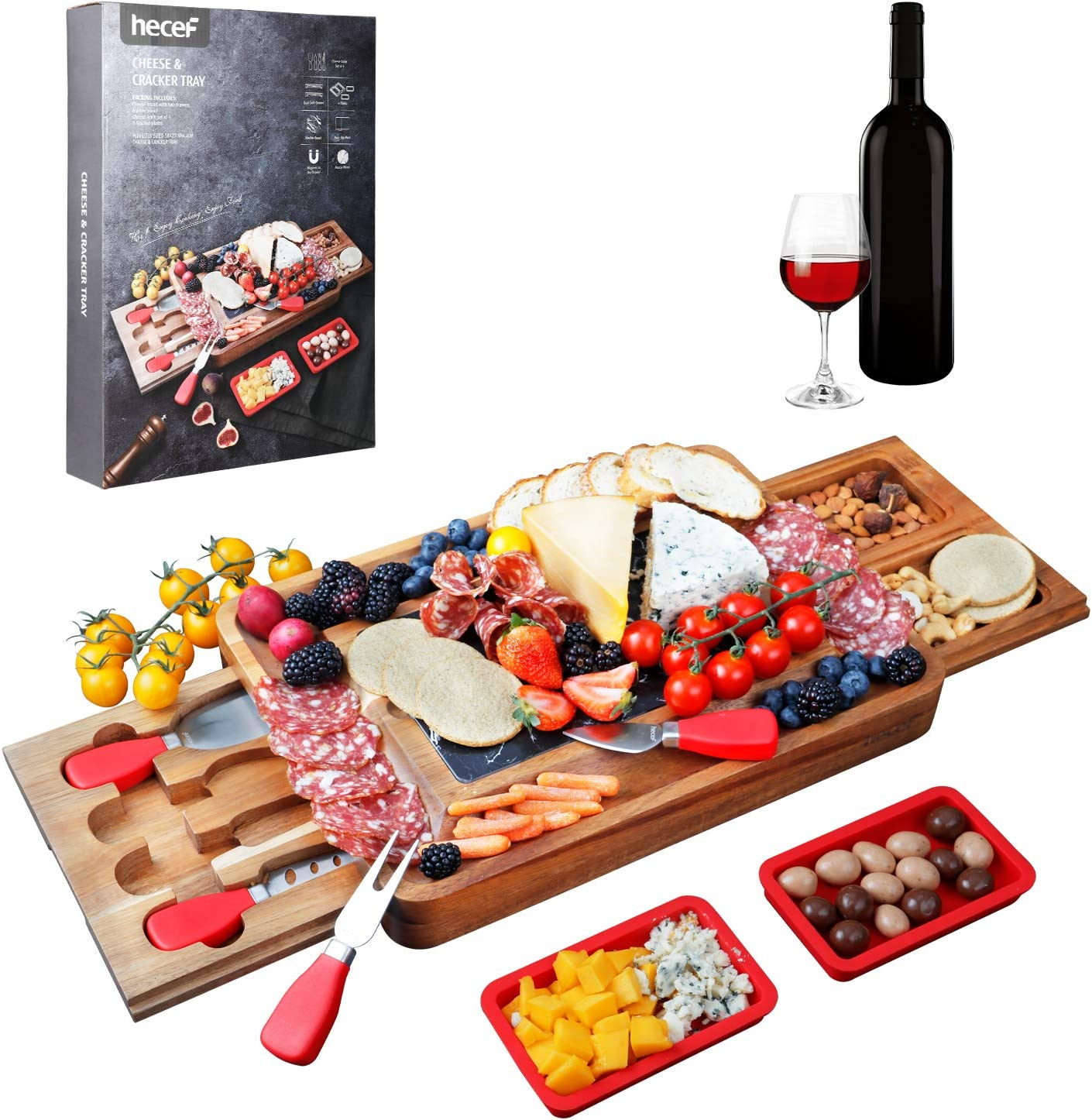 hecef Acacia Wood Cheese lowest price Board Platter with 25% OFF Square 2 Set
