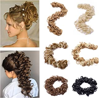SEGO Lady Outlet Store Twirl Hair Band Updo Hairpiece Extension Messy Curly Hair Bun Extension Wrap Around Scrunchy Blonde