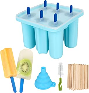 Silicone ice lolly mould, set of six, DIY ice lolly mould, reusable ice lolly-with silicone funnel and cleaning brush-blue