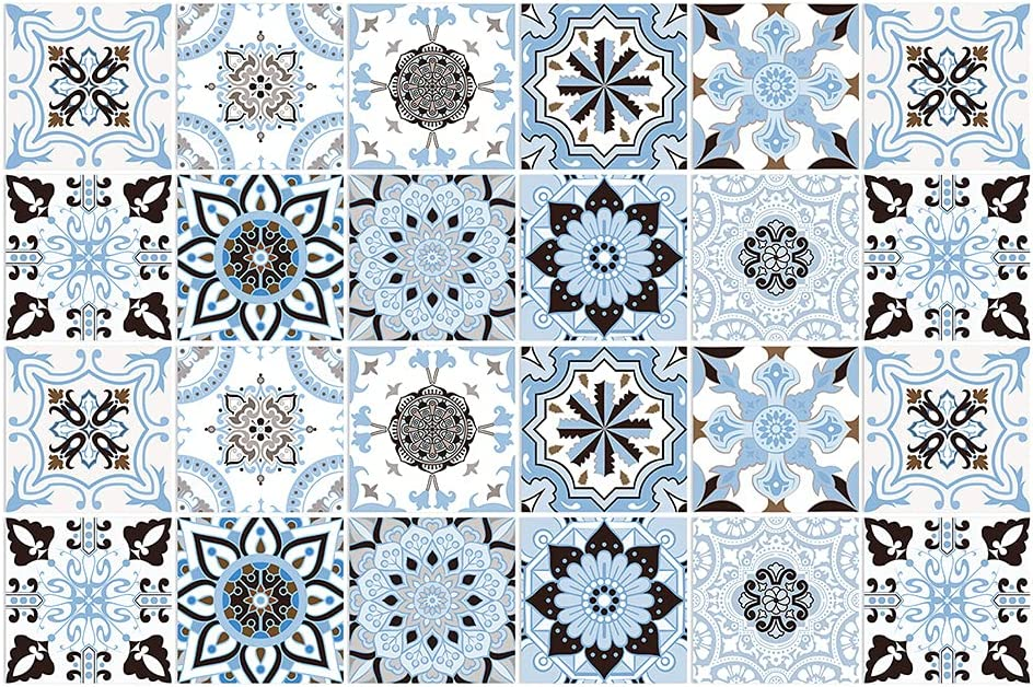 BROWSHAPER 24pcs Backsplash Tile Stickers Free Shipping Cheap Bargain Gift Our shop OFFers the best service Wall Blue Peel Stick S
