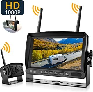 Wireless Backup Camera System, IPOSTER Wireless Backup Camera for Car RV Truck Travel Trailer Bus Pickup, 1080P FHD 170 Wi...