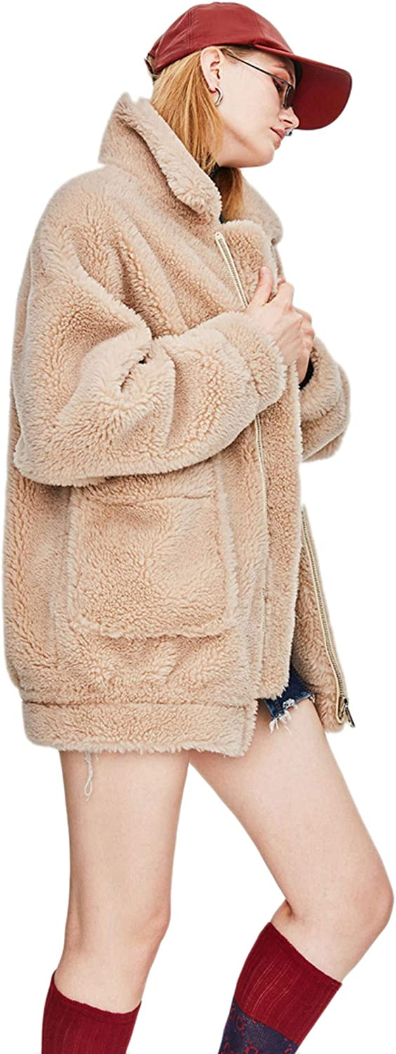 Dapigu Womens Teddy Bear Icon Coat Real Sheep Fur Oversized Jacket Warm Outerwear