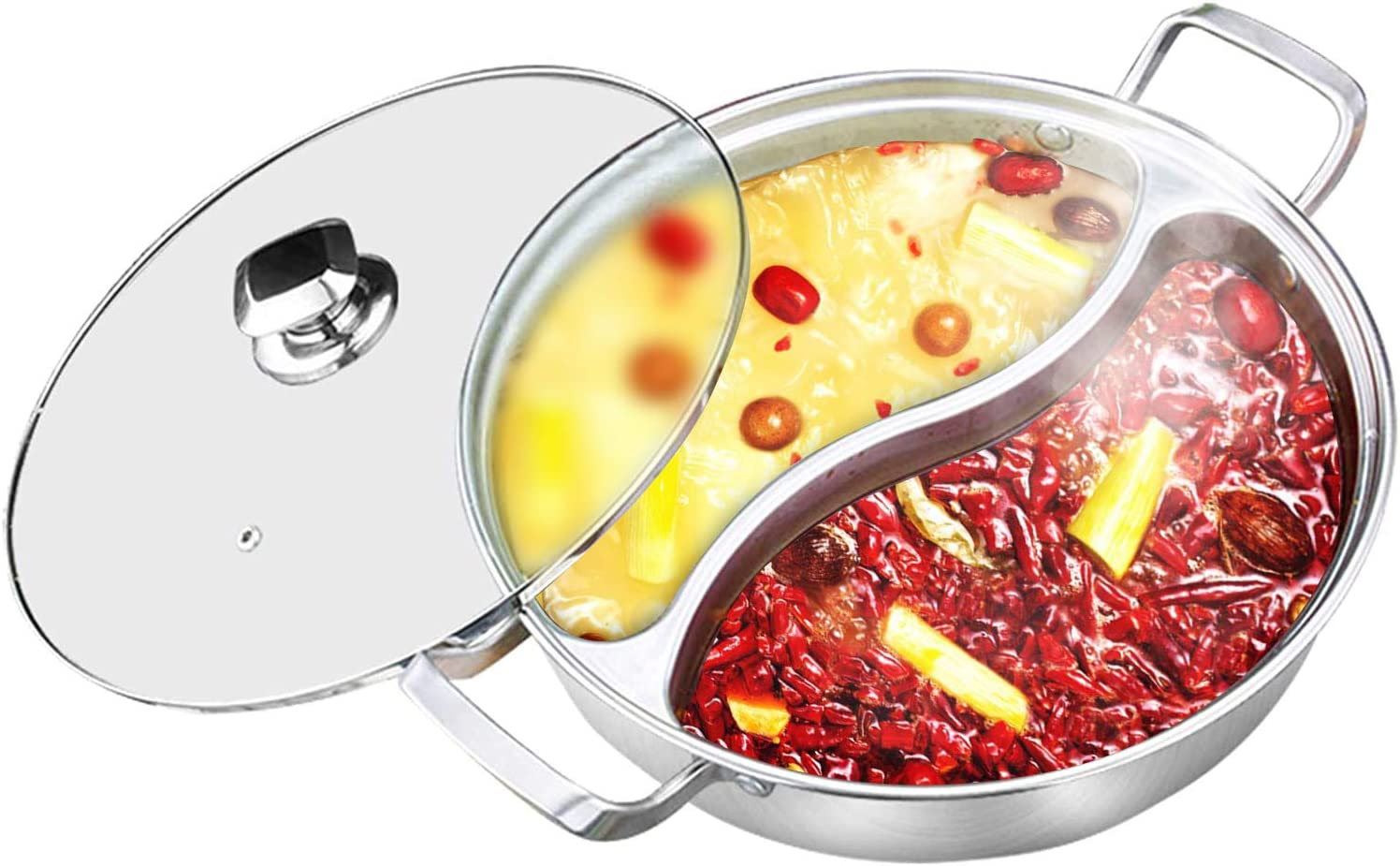 32CM Stainless Steel Twin Divided 2 Grid 2 Taste Cooking Hot Pot Cookware Yuanyang Pots Suitable for All Induction Cookers Gas Stove Halogen Furnace Home Kitchen