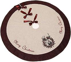 The Christmas Cart Vintage Reindeer Christmas Tree Skirt | Tree Base | Christmas Floor Covering | Christmas Decor | 117cm ...