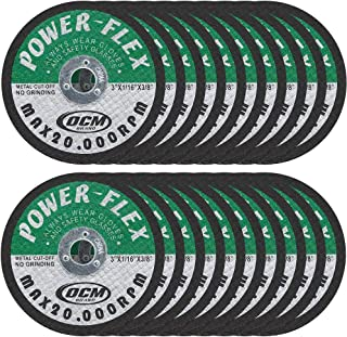 20 Pack - Cut Off Wheels 3 Inch x 1/16 Inch x 3/8 Inch - For Cutting All Steel and Ferrous Metals.