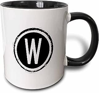 3dRose 244997_4 monogram, letter W background Ceramic Mug, 11 oz, Black/White