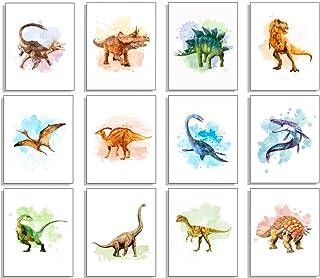 Dinosaur Wall Decor Art Prints - Set of 12 8x10 Unframed Dinosaur Poster- Dinosaur Room Decor for Boys Dinosaur Decor Dino...